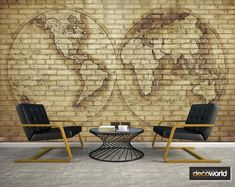 Classic world map vintage style over brick wall, wallpaper perfect for sophisticated decor Vintage Style, Vintage Fashion, Wall Wallpaper, Brick Wall, Classic, Decor, Maps, Brick, Creativity