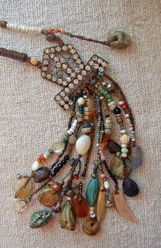 Knotted Boho Tribal Victorian Assemblage Necklace by Cobwebpalace, Lisa Bommarito