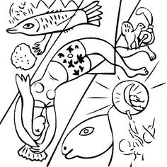 free coloring page of marc chagall painting the blue circus you be the master painter color this famous painting and many more - Monet Coloring Pages Water Lilies