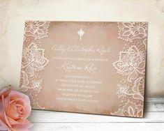 Shabby Chic Baptism Invitation  Pink Vintage Paper by VGInvites