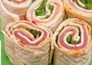 Rollitos de sándwich de jamón y queso