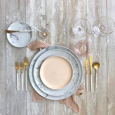 borrowed BLU// SIREN in Blush/Gold, SIREN Clear/Gold, GOA White+Gold flatware, Exclusive Russel Wright Collection in Nude, Nude Organic Cotton Napkin