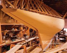 "INVADER  47' 11"" x 8' 3"" 8-Meter Class sloop Designed by William Fife III  Built by Wooden Boatworks Launched 2015 Photo by Benjamin Mendlowitz The Calendar of Wooden Boats Profile article on Wooden Boatworks' builders Donn Costanzo and Bruce Wahl in WoodenBoat No. 231 (M/A 2013) http://bit.ly/1UT6rTC"