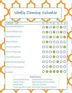 Chore chart-weekly cleaning schedule, thinking this bit of control might make me feel better. Apartment Cleaning Schedule, Monthly Cleaning Schedule, Weekly Cleaning, Schedule Printable, Cleaning Checklist, Cleaning Calendar, Weekly Schedule, Chore Schedule, Free Printables