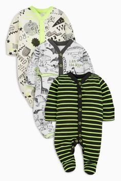 Buy Grey Fluro Dinosaur Sleepsuits Three Pack (0mths-2yrs) from the Next UK online shop