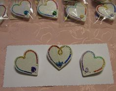 Metallic and Clay Flower Butterfly and Crystal Rainbow Heart Pins by crafts4thecure, $65.00