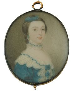 Simon Pine portrait of a young lady set in the original gold frame  Wearing a light blue dress trimmed with white lace, blue rosettes on her bodice and entwined in her lace collar, matching ribbon in her hair.