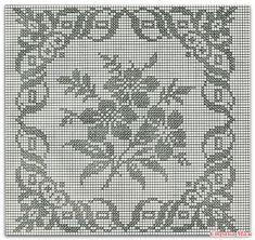 Free Crochet Doily Patterns, Filet Crochet Charts, Crochet Borders, Crochet Diagram, Crochet Motif, Crochet Edgings, Crochet Cushions, Crochet Tablecloth, Cross Stitch Bird