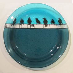 Bird on a Wire, Fused Glass Platter