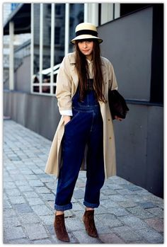 dungarees + trench