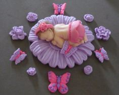 Fondant baby pink flower cake topper for Baby by evynisscaketopper
