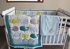 8 Pieces Baby bedding set Embroidery 3D ocean whale Baby crib bedding set cotton quilt  bedskirt bumper blanket crib bedding set