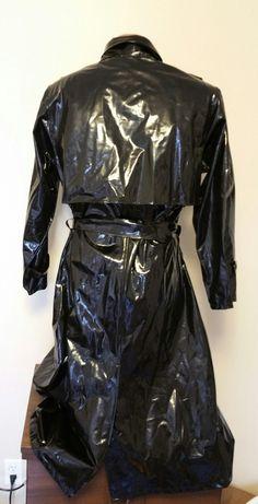 Vintage Kenn Sporn Wippette Vinyl Raincoat Long Slicker Trench Coat Animal Print   eBay