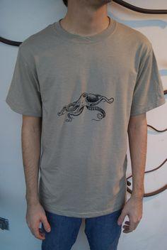 Screenprint Shirt  Vintage Octopus Print by SamsaraPrints on Etsy, $15.00
