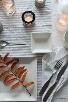 La Dolce Vita Blog / White and grey table setting / autumn details