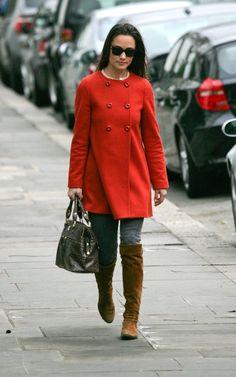 Pippa wearing Zara coat (again) on 11/29/2011