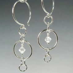 Mystic Silver Earrings with Crystal