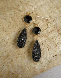 Druzy Earrings Black Drusy Quartz Gold Vermeil by julianneblumlo
