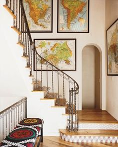 i thought we'd do our maps in the office but it might be neat up the stair case with family photos! Netherlands, france, germany, california, michigan, colorado, idaho, israel, africa