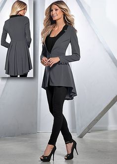 Dark Grey Long ruffle back blazer from VENUS. Sizes 2-16!