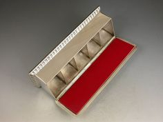 Rare Victorian Antique Silver, Five-Compartment Stamp Box  HEIGHT:1.57 in. (4 cm) WIDTH:5.47 in. (14 cm) DEPTH:1.81 in. (5 cm) DEALER LOCATION:Sittingbourne, United Kingdom NUMBER OF ITEMS:1 REFERENCE NUMBER:| From a unique collection of antique and modern desk accessories at https://www.1stdibs.com/furniture/more-furniture-collectibles/desk-accessories/