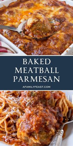 Baked Meatball Parmesan - A Family Feast® Baked Meatball Parmesan is delicious Italian comfort food! Tender Italian-style meatballs smothered in homemade tomato sauce and covered in three types of cheese – then baked until hot and bubbly! Yummy Pasta Recipes, Casserole Recipes, Cooking Recipes, Comfort Food Recipes, Crowd Recipes, Penne Recipes, Diner Recipes, Parmesan Recipes, Comfort Foods