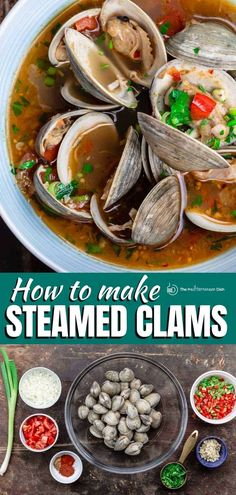 These Steamed Clams from The Mediterranean Dish are the best out there! The Mediterranean flavors bring this recipe to the next level! #weeknightdinnerideas #dinnerideas #clamrecipes Clam Recipes, Side Dish Recipes, Fish Recipes, Seafood Recipes, Dinner Recipes, Vegetarian Recipes Easy, Easy Healthy Dinners, Clean Eating Recipes, Healthy Recipes