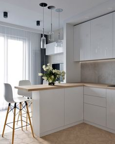 23 Charming Cottage Kitchen Design and Decorating Ideas that Will Bring Coziness to Your Home - The Trending House Small Condo Kitchen, Kitchen Room Design, Kitchen Cabinet Design, Modern Kitchen Design, Home Decor Kitchen, Interior Design Kitchen, Home Kitchens, Small Modern Kitchens, Studio Kitchen