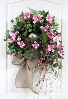 Spring Wreath Front Door Wreath Country Nest by FloralsFromHome Spring Front Door Wreaths, Fall Wreaths, Spring Door, Diy Wreath, Grapevine Wreath, Wreath Burlap, Couronne Diy, Country Wreaths, Easter Wreaths