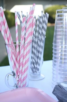 Pink and grey baby shower