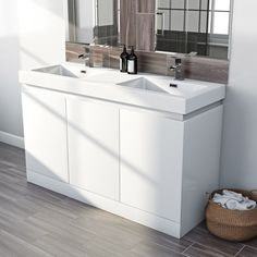 Mode Hardy white floorstanding double vanity unit and basin Double Vanity Unit, Vanity Units, Grey Bathroom Cabinets, Bathroom Furniture, Bathroom Fitters, Inset Basin, Basin Unit, Modern Bathroom Design, Engineered Wood