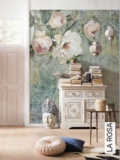 Bild: Tapeten - LA ROSA Latest Wallpapers, Photo Wallpaper, New Wall, More Pictures, Vintage World Maps, Gallery Wall, Pure Products, Painting, Home Decor