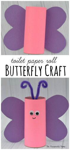 Reuse paper rolls to make this toilet paper roll butterfly craft. Kids can make … Reuse paper rolls to make this toilet paper roll butterfly craft. Kids can make them as a craft for Valentines Day, spring, summer, or a butterfly unit. Toilet Paper Roll Crafts, Paper Crafts For Kids, Crafts For Girls, Projects For Kids, Paper Crafting, Fun Crafts, Craft Projects, Craft Kids, Toilet Paper Rolls