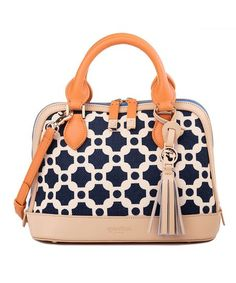 Spartina 449 Navy May River Linen & Leather Satchel | zulily