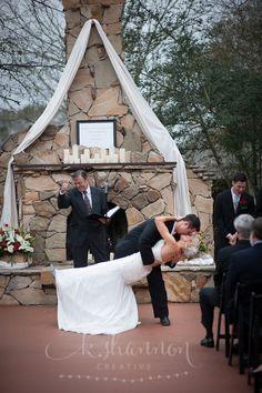 First kiss dip!!!  Wedding photography by K. Shannon Creative, Houston Texas.