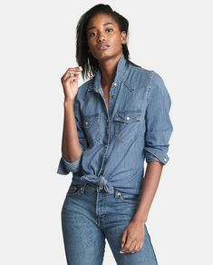 Gap Womens Denim Western Shirt - S Regular Baby Kids Clothes, Western Shirts, Denim Shirt, Stretch Denim, Shirt Blouses, Fashion News, Women's Fashion, Blouses For Women, Long Sleeve Tops
