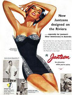 Jantzen SwimSuits Vintage Ad for  Riviera Silver Anniversary Australia - www.MadMenArt.com.  Vintage black one-piece bathing suit #beautiful!