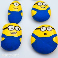 These painted Minion rocks or stones make a super cute and simple craft for all Minion fans out there: kids and parents. Paint and play!