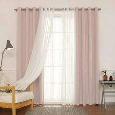 Willa Arlo Interiors Brunilda Traditional Solid Sheer Thermal Grommet Curtain Panels Color: Baby Pink