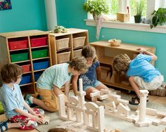 Children's wooden blocks with an open rolling cart. Daycare Cubbies, Preschool Cubbies, Childproofing, Modular Design, Environmental Design, Mortise And Tenon, Child Love, Wood Texture, Design Process