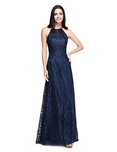Bridesmaid Dress 2017 Lanting Bride® Floor-length Lace Elegant - A-line  Halter with Pleats – GBP £ 51c50b8a1fa8