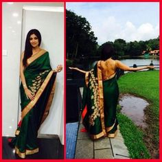 Shilpa Shetty in green silk saree with gold border and leaf patch work.