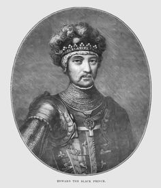 Edward of Woodstock, Prince of Wales, Duke of Cornwall, Prince of Aquitaine, KG (15 June 1330 – 8 June 1376) was the eldest son of King Edward III of England and his wife Philippa of Hainault as well as father to King Richard II of England. He was called Edward of Woodstock in his early life, after his birthplace, and since the 16th century has been popularly known as the Black Prince. He was a Knight of the Order of the Garter. Note the noble fleur-de-lis embroidered all over his outfit.