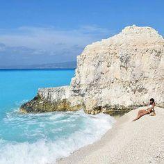 Kefalonia island, Greece.    Visit the impressive beach #fteri, on #kefalonia island!   By @ritagaiti.