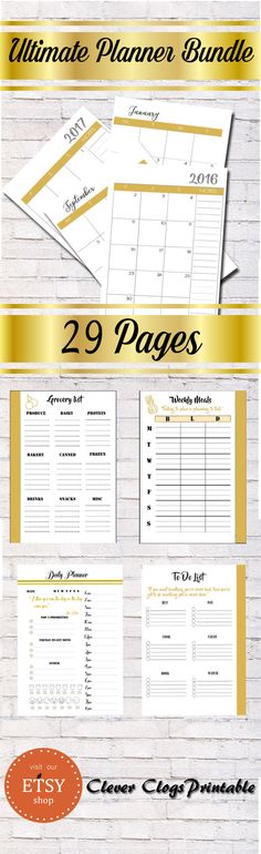 NEW ultimate planner with all the essential printable pages needed to effectively organize your schedule (with a full double paged 2016-2017 calendar with plenty of space for stickers and notes).   This unique bundle contains 29 elegantly crafted pages jam packed with all the essential components to keep you in control of your busy schedule.