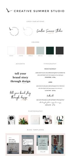 Brand style guide for Creative Summer Studio. We designed a minimal layout with bold touches, beautiful typography, feminine colors, and some magazine layout influences. Web Design, Website Design, Logo Design, Creative Design, Brand Identity Design, Brand Design, Marca Personal, Brand Style Guide, Brand Board