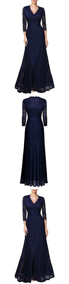 Miusol Women's Floral Lace 2/3 Sleeves Long Bridesmaid Maxi Dress (X-Large, Navy Blue)
