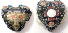 In WWI, soldiers often took up needlepoint as a way to pass the time while recuperating from war wounds, or used it as a form of occupational therapy. These cushions are decorated with beads, sequins, bits of mirror, felt, and pre-printed panels memorializing soldiers' regiments.