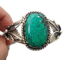 Manchette turquoise, argent Sterling, bracelet manchette Bracelet, Vintage, de qualité, lourd, améri