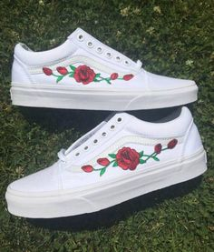18c886c3b7d057 White Vans Old Skool Custom Rose Embroidered Shoes-Vans Rose Shoes Floral  Vans-Custom Vans Rose Vans